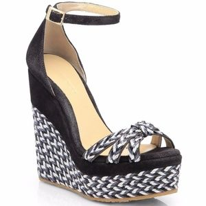 JIMMY CHOO Black Promise Suede Espadrille Wedge